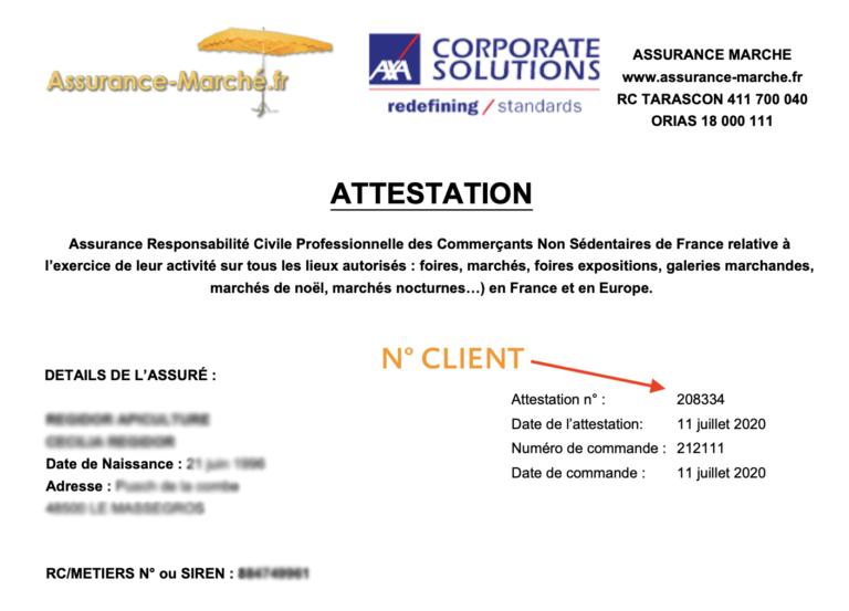 Numero Client Assurance-marche.fr